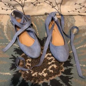 Light blue lace up ballet flats